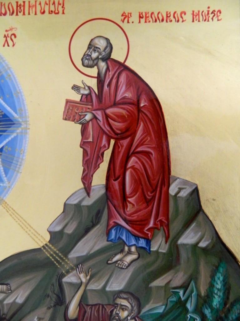 Schimbarea la Fata a Domnului Hristos- DETALIU- Icoana realizata pe lemn , in tehnica bizantina, cu foita de aur de 22k. Dimensiune 32X54cm