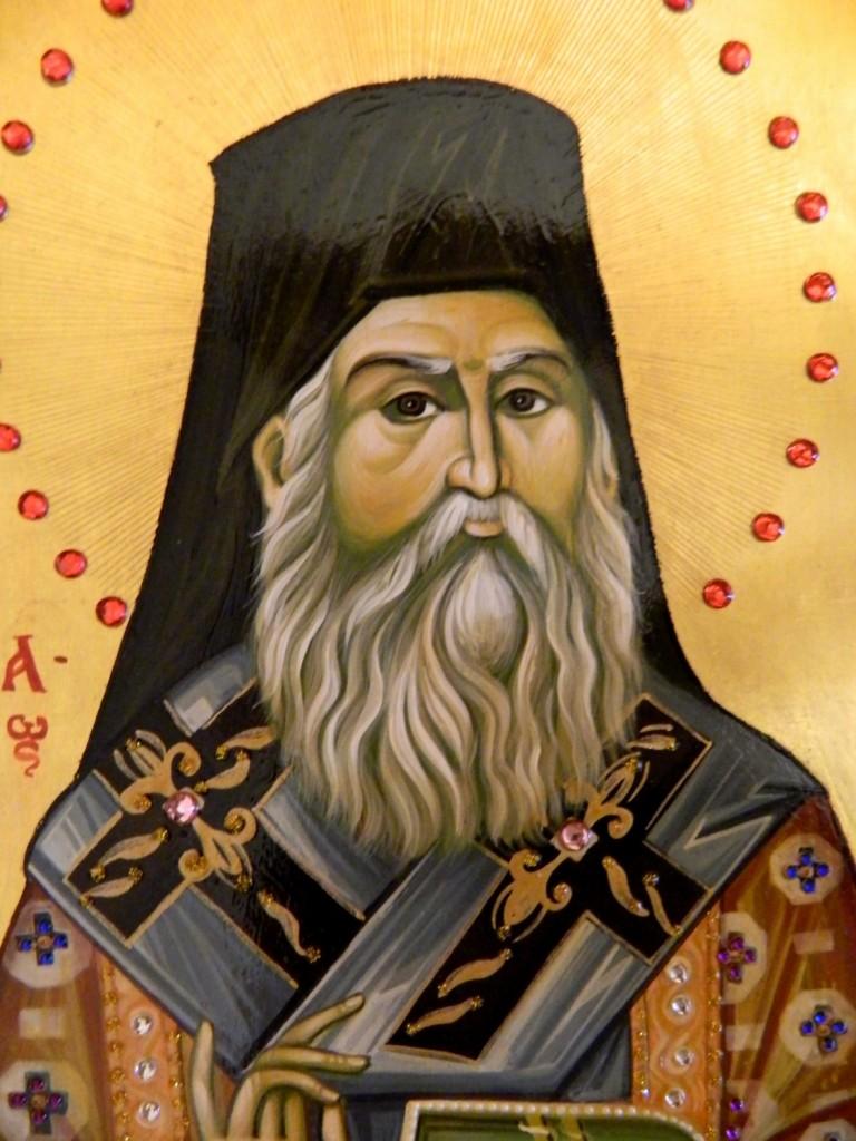 Sfantul Ierarh Nectarie de la Eghina- DETALIU- Icoana realizata pe lemn, in tehnica bizantina, cu foita de aur de 23,7k, si aplicatii de pietre semipretioase. Dimensiune A4