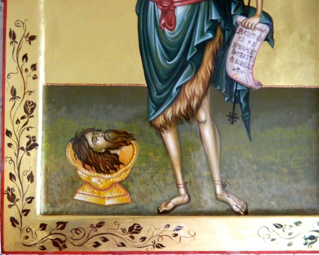 Sfantul IOAN Botezatorul- DETALIU_ Icoana realizata pe lemn, realizata in tehnica bizantina, cu foita de aur de 22k. Dimensiune A3 ( 42cmX30cm)