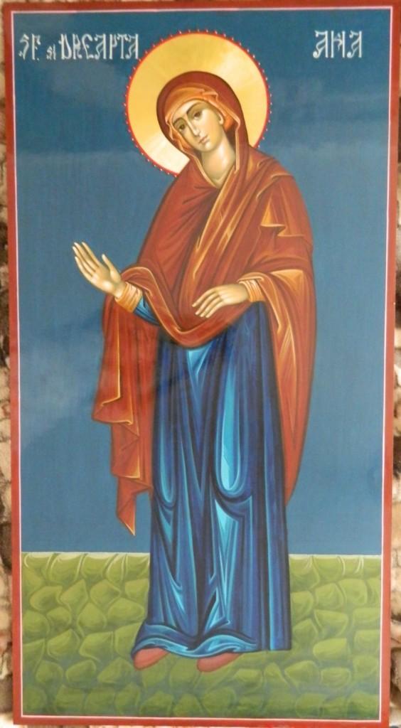 Sfintii Parinti Ioachim si Ana-DETALIU SF ANA- Icoana pe lemn, realizata in stil bizantin, cu foita de aur de 22k.  Dimensiuni icoana, fiecare 128X68cm