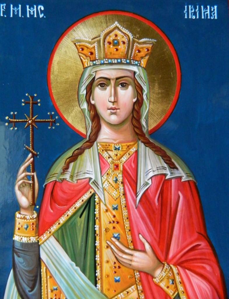Sfanta Mare Mucenita Irina- Icoana pe lemn, realizata in stil bizantin, cu foita de aur de 22k.  Dimensiune A4