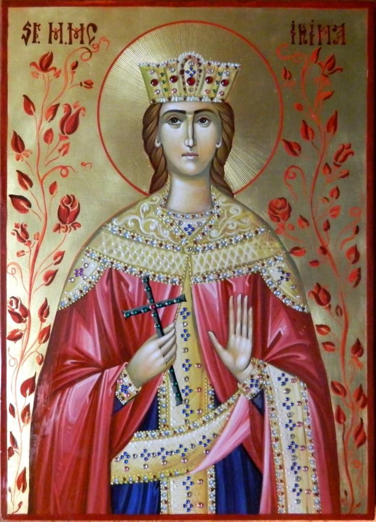 Sfanta mare Mucenita Irina- Icoana realizata pe lemn, in tehnica bizantina,cu foita de aur de 22k, si aplicatii de pietre semipretioase. Dimensiuni A4 ( 20X29 cm)