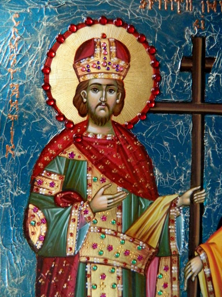 Sfintii Imparati Constantin si Elena- DETALIU_Icoana realizata pe lemn in stil bizantin,, cu foita de aur de 22k si fond mozaicat. Dimensiuni 35X25cm