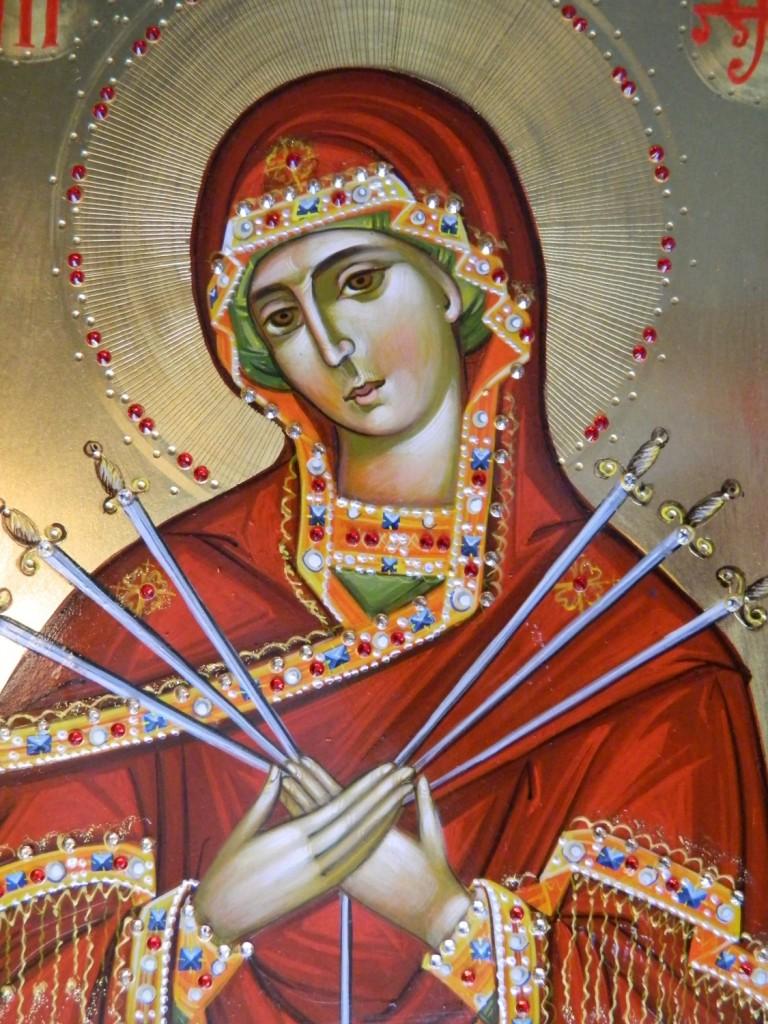 Maica Domnului Imblanzirea Inimilor impietrite-Detaliu- Icoana realizata pe lemn, realizata in stil bizantin , cu foita de aur de 22k, si aplicatii de pietre pretioase. Dimensiune A4