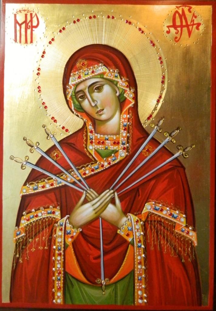 Maica Domnului Imblanzirea inimilor impietrite- - Icoana realizata pe lemn, realizata in stil bizantin , cu foita de aur de 22k, si aplicatii de pietre pretioase. Dimensiune A4