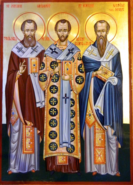SFINTII TREI IERARHI- Vasile cel Mare , Grigorie Teologul, Ioan Gura de Aur- Cei trei stalpi de rezistenta ai Biseicii Ortodoxe