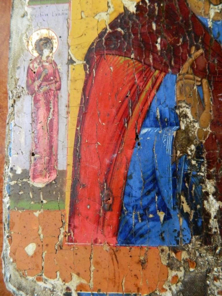 Icoana Sfantului Antonie cel Mare, dupa curatare si consolidarea stratului pictural. DETALIU