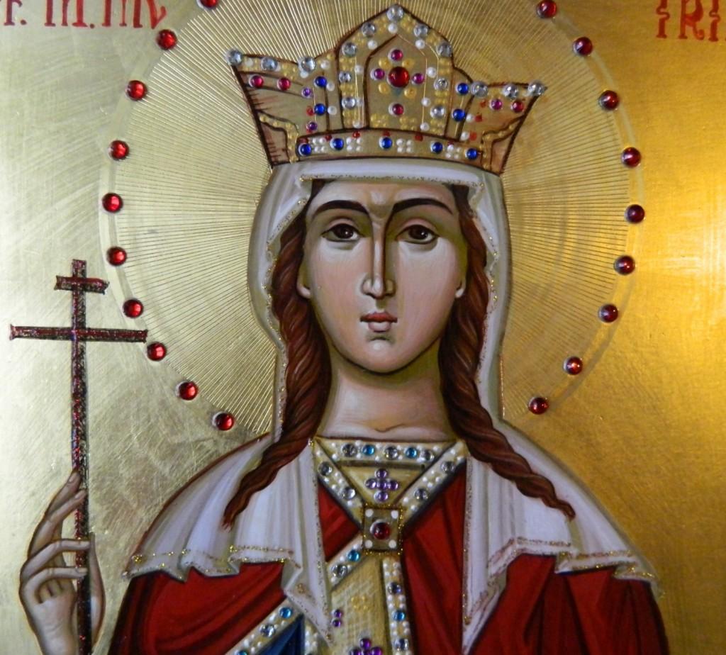 Sfanta Mare Mucenita Irina - Icoana realizata pe lemn ,in stil bizantin, cu foita de aur de 22k. Dimensiune A4 ( 21X30 cm)
