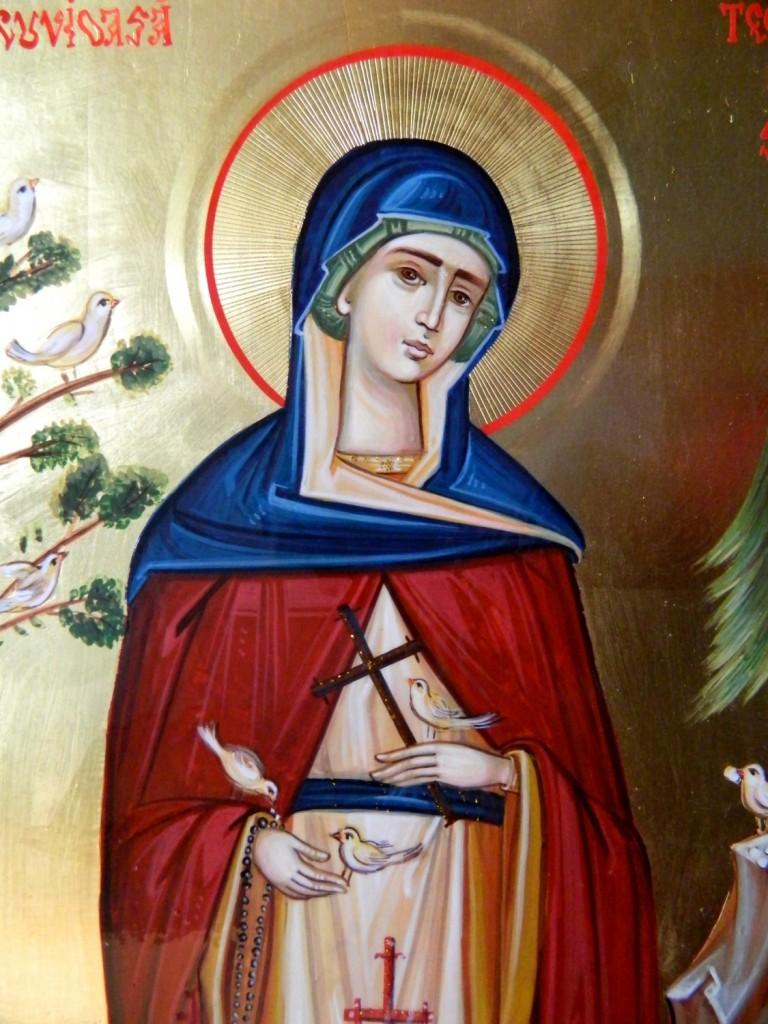 Sfanta Teodora de la Sihla-DETALIU_ Icoana realizata pe lemn ,in stil bizantin, cu foita de aur de 22k. Dimensiune A4 ( 21X30 cm)