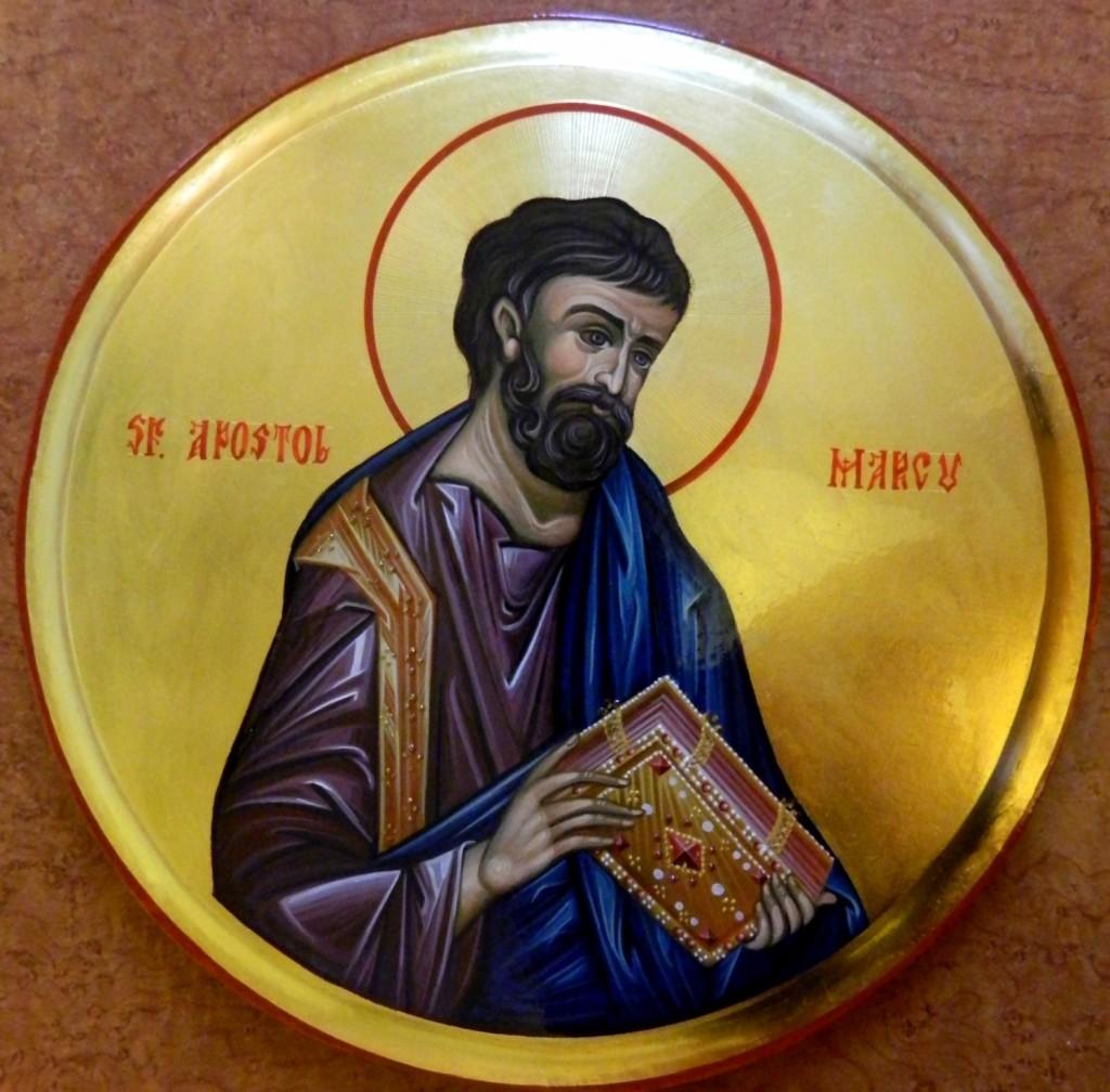 Sfantul Apostol MARCU- Icoana pe lemn, realizata in tehnica bizantina cu foita de aur de 22k.  Dimensiune 30 cm diametru.