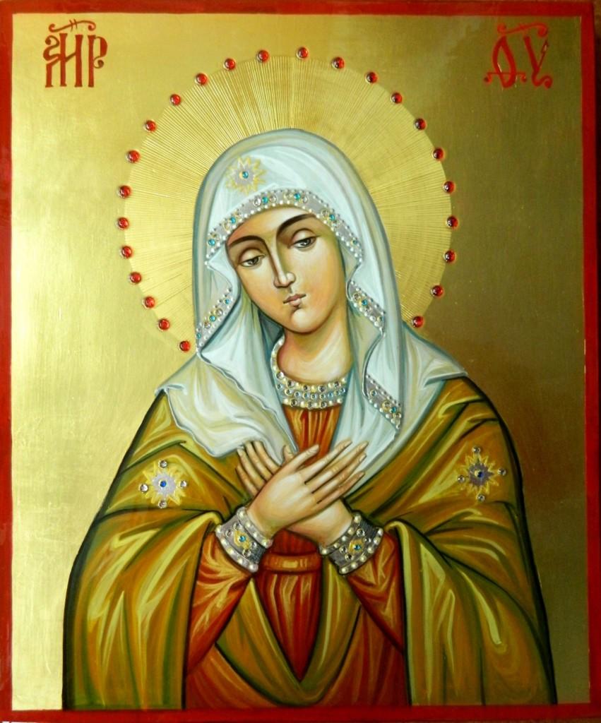 """Maica Domnului """"Umilenie""""- Icoana realizata pe lemn, in tehnica bizantina , cu foita de aur de 22k, si aplicatii de pietre semipretioase. Dimensiune 25X30 cm"""