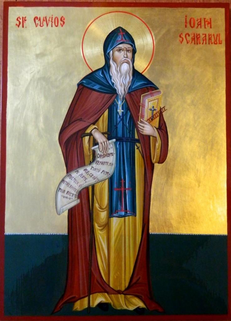 SFANTUL IOAN SCARURUL- Icoana realizata pe lemn in tehnica bizantina cu foita de aur de 22k. Dimensiune A3 (42X30 cm).