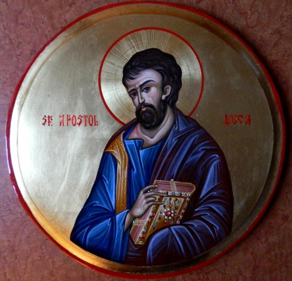 Sfantul Apostol LUCA - Icoana pe lemn, realizata in tehnica bizantina cu foita de aur de 22k.  Dimensiune 30 cm diametru.