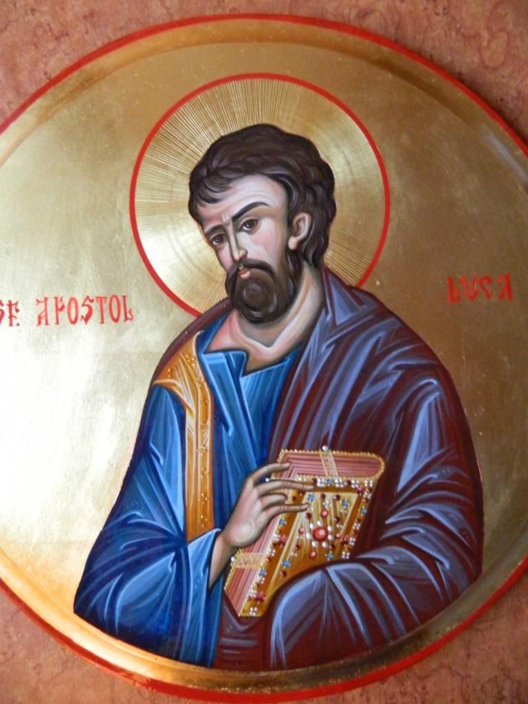 Sfantul Apostol LUCA- DETALIU-Icoana pe lemn, realizata in tehnica bizantina cu foita de aur de 22k.  Dimensiune 30 cm diametru.