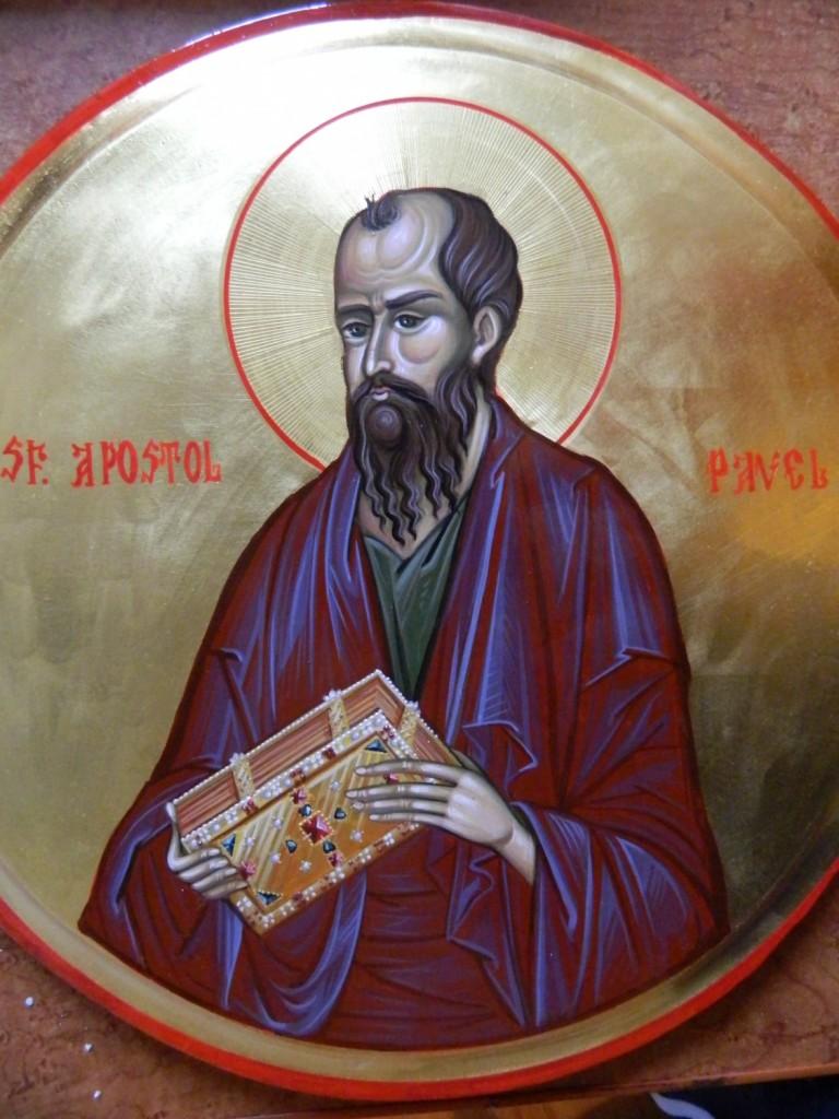 Sfantul Apostol Pavel- DETALIU_Icoana pe lemn, realizata in tehnica bizantina cu foita de aur de 22k.  Dimensiune 30 cm diametru.