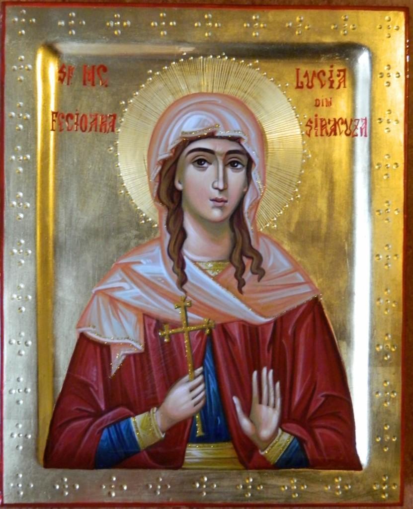 Sfanta Mucenita Lucia- Icoana realizata pe lemn in stil bizantin cu foita de aur de 22k. Dimensiune 22 X18 cm