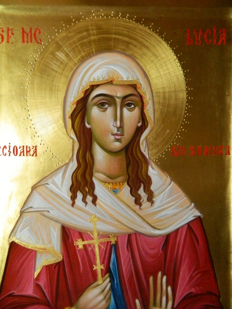 Sfanta Lucia din Siracuza-DETALIU_ Icoana pe lemn, realizata in stil bizantin, cu foita de aur de 22k. Dimensiune 30 X42cm