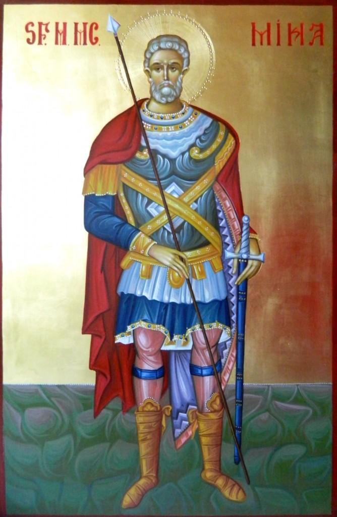Sfantul Mare Mucenic MINA- Icoana pe lemn, realizata in tehnica bizantina, cu foita de aur de 22k. Dimensiune 60X40 cm