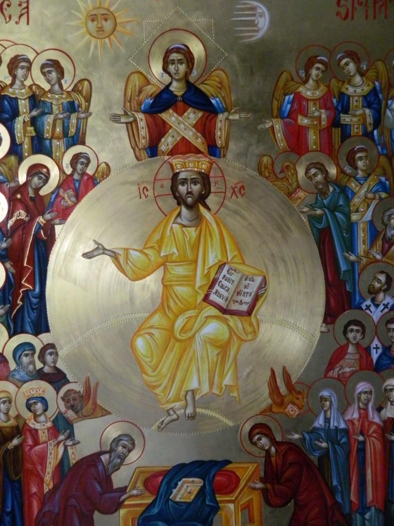 Adunarea Tuturor Sfintilor- DETALIU-Icoana pe lemn, realizata in tehnica bizantina, cu foita de aur de 22k. Dimensiune 106X 75 cm