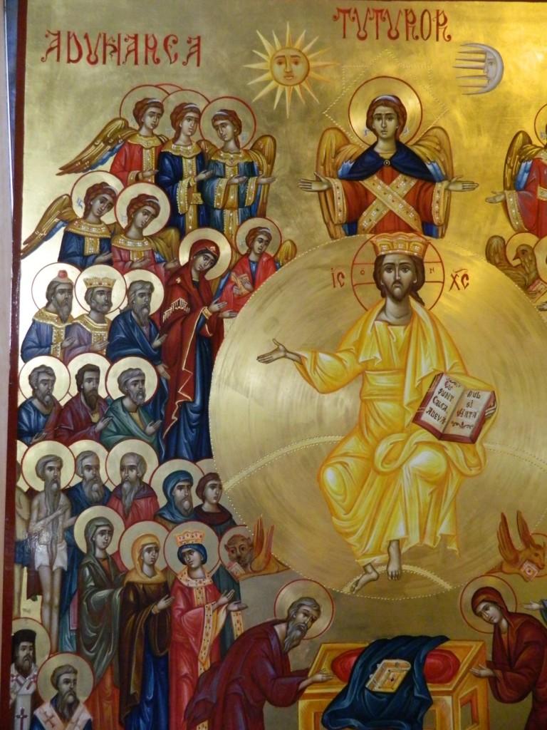 Adunarea Tuturor Sfintilor- DETALIU_Icoana pe lemn, realizata in tehnica bizantina, cu foita de aur de 22k. Dimensiune 106X 75 cm