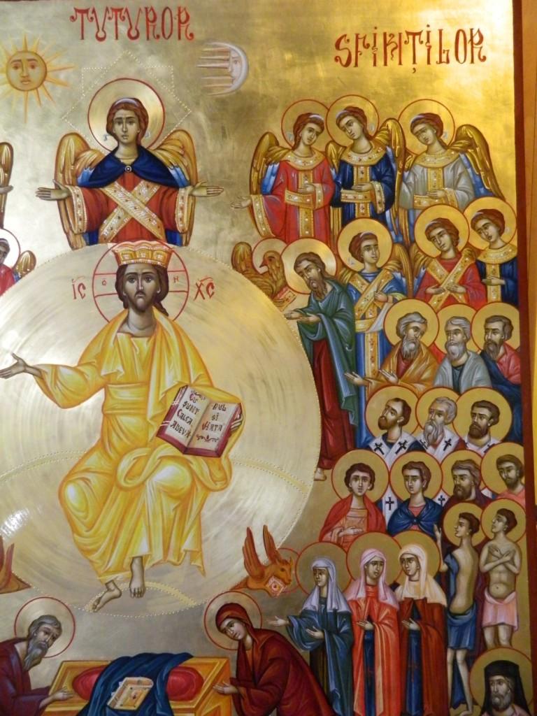 Adunarea Tuturor Sfintilor-DETALIU- Icoana pe lemn, realizata in tehnica bizantina, cu foita de aur de 22k. Dimensiune 106X 75 cm