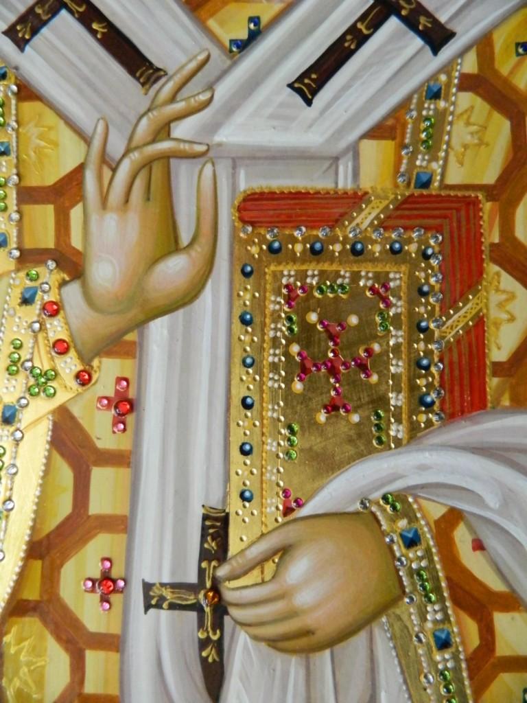 Sfantul Ierarh Nectarie- Icoana realizata pe lemn, in tehnica bizantina, cu foita de aur de 22k, si aplicatii de pietre semipretioase. Dimensiune A3 ( 42X30 cm)