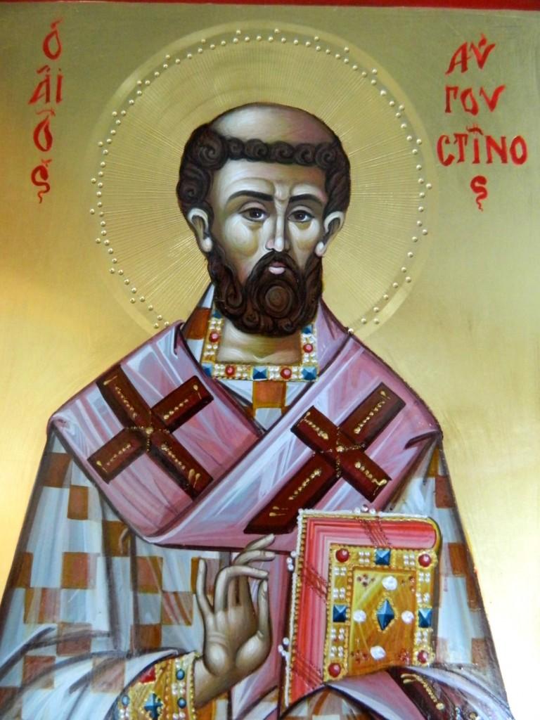 Fericitul Augustin-  DETALIU_Icoana pe lemn, realizata in tehnica bizantina, cu foita de aur de 22k. Dimensiune A4