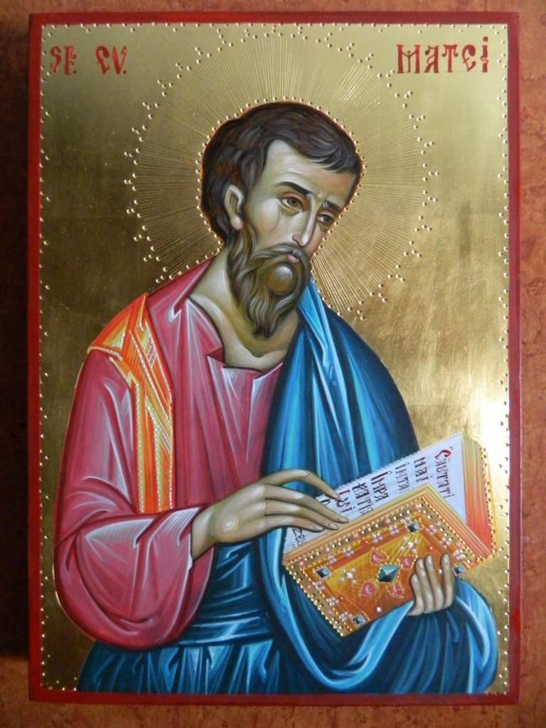 Sfantul Evanghelist Matei-  Icoana pe lemn, realizata in tehnica bizantina, cu foita de aur de 22k. Dimensiune A4