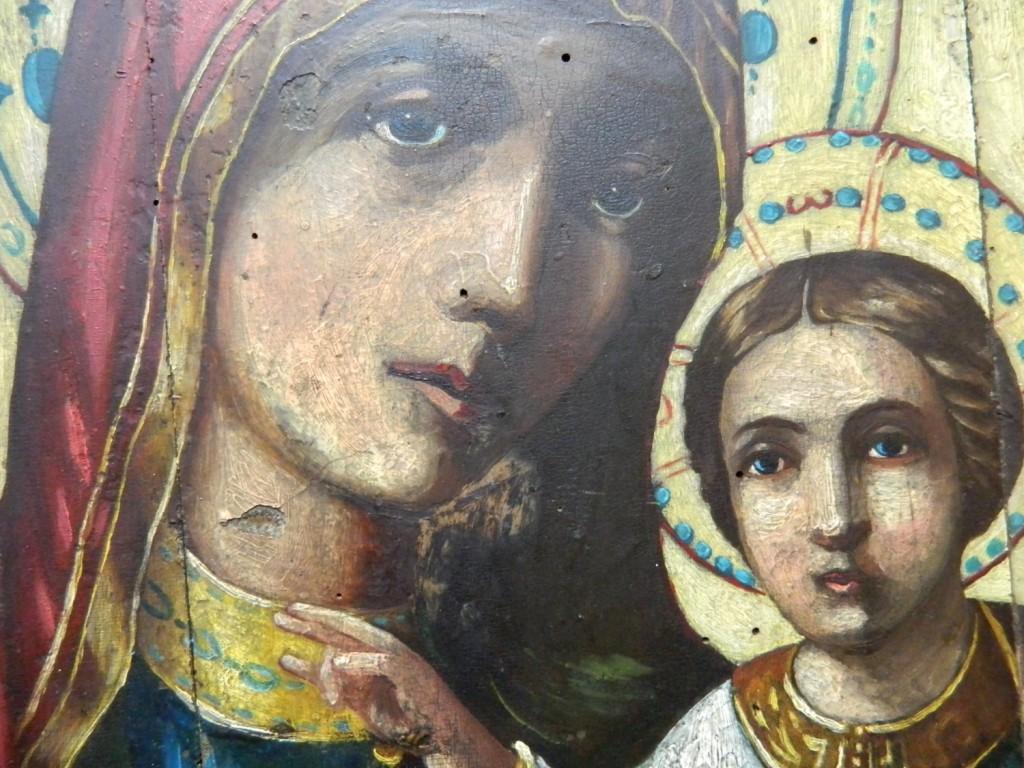 Icoana Maicii Domnului cu Pruncul- Icoana Imparateasca- Inaintea operatiunilor de restaurare- DETALIU