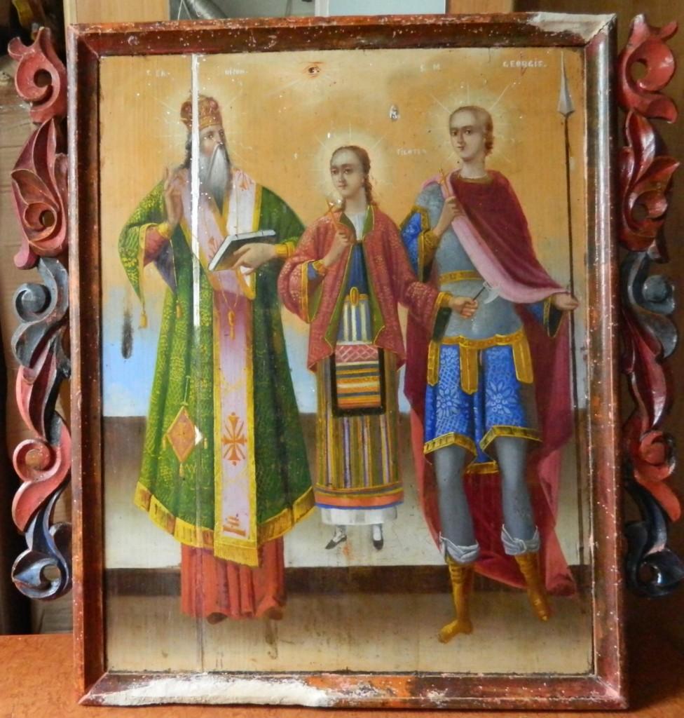 Sf Nifon, Sf Filofteia si Sf Gheorghe--In timpul operatiunii de chituire a lacunelor si integrare cromatica.