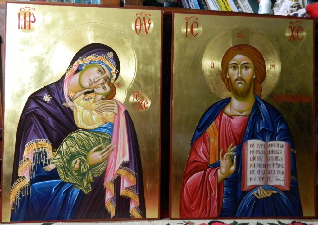 Icoane Imparatesti- Icoane realizate pe lemn, in tehnica bizantin ca , cu foita de aur de 22k. Dimensiune 82X60cm