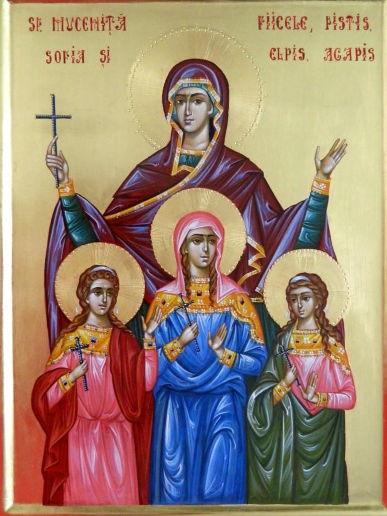Sfanta Sofia si fiicele- Icoana realizata pe lemn, in tehnica bizantina cu foita de aur de 22k. Dimensiune 35X45 cm