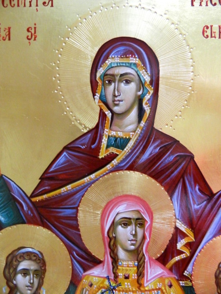 Sfanta Sofia si fiicele- DETALIU_Icoana realizata pe lemn, in tehnica bizantina cu foita de aur de 22k. Dimensiune 35X45 cm