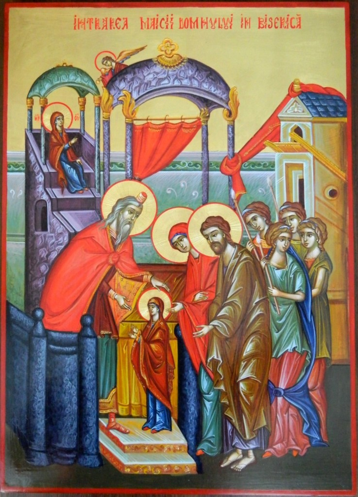 Intrarea in Biserica a Maicii Domnului- Icoana realizata in stil bizantin, pe suport de lemn, cu foita de aur de 22k. Dimensiune A3, 30 X42cm.