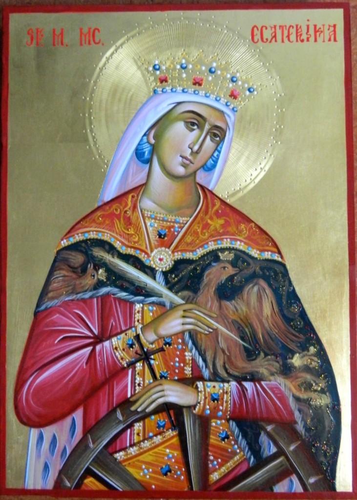 Sfanta Mc Ecaterina- Icoana realizata pe lemn, in tehnica bizantina , cu foita de aur de 22k. Dimensiune A4