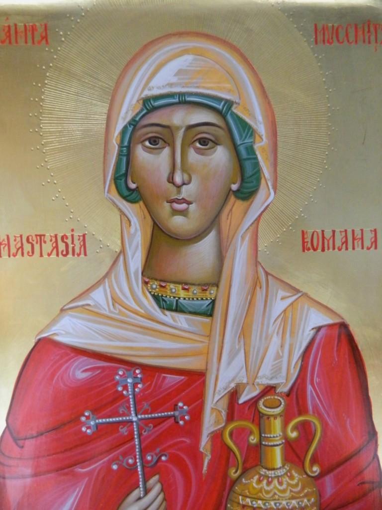Sfanta Mucenita Anastasia Romana- DETALIU_ Icoana pe lemn, realizata in stil bizantin cu foita de aur de 22k. Dimensiune A3 ( 42X30 cm)