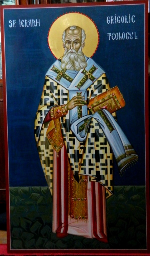 Sfantul Grigorie Teologul- Icoana pe lemn, realizata in stil bizantin cu foita de aur de 22k, si aplicatii de pietre semipretioase. Dimensiune 116X68 cm