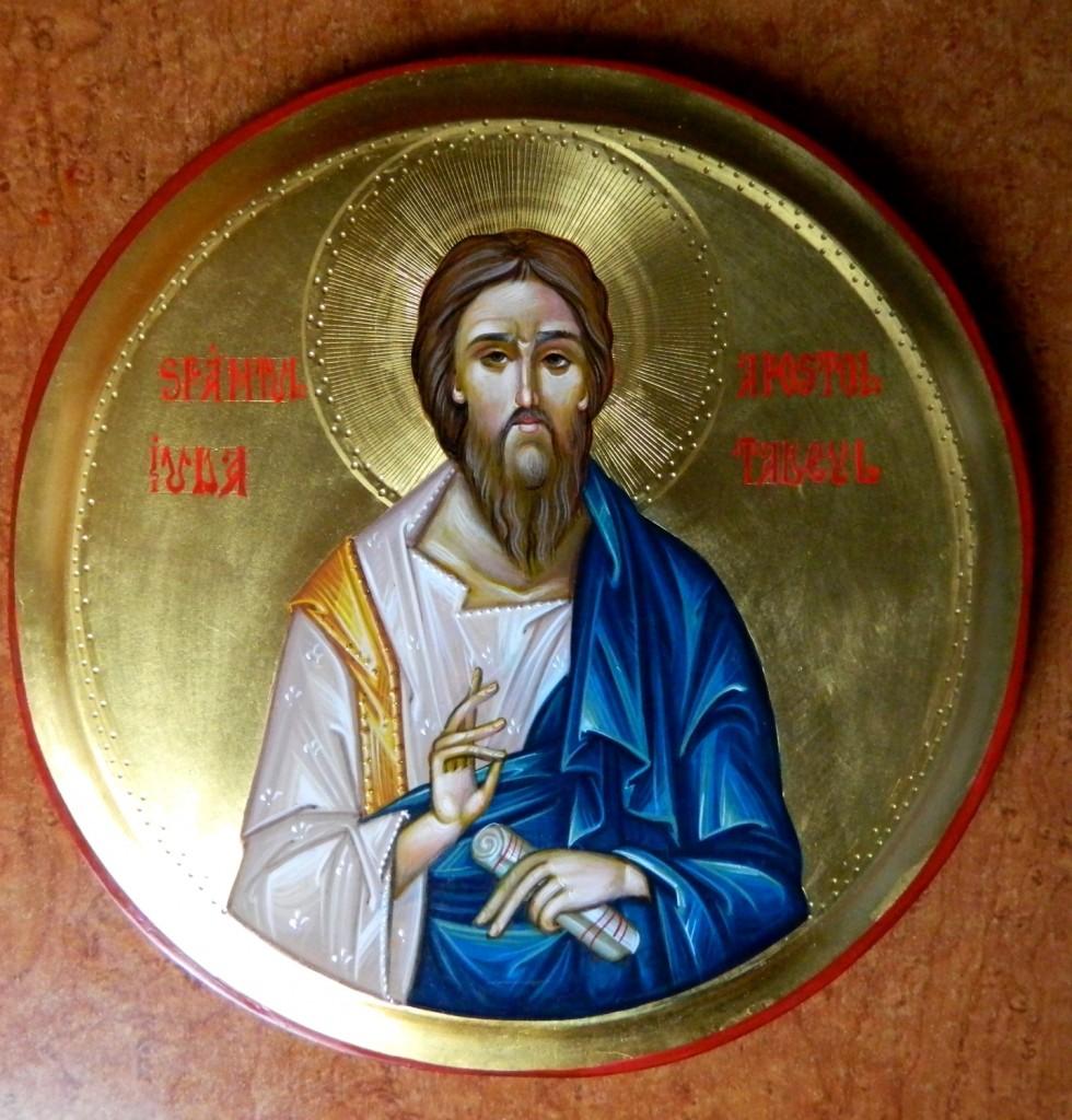 Sfantul Apostol Iuda Tadeul- Icoana pe lemn realizata in stil bizantin cu foita de aur de 22k. Dimensiune diametru 20 cm.
