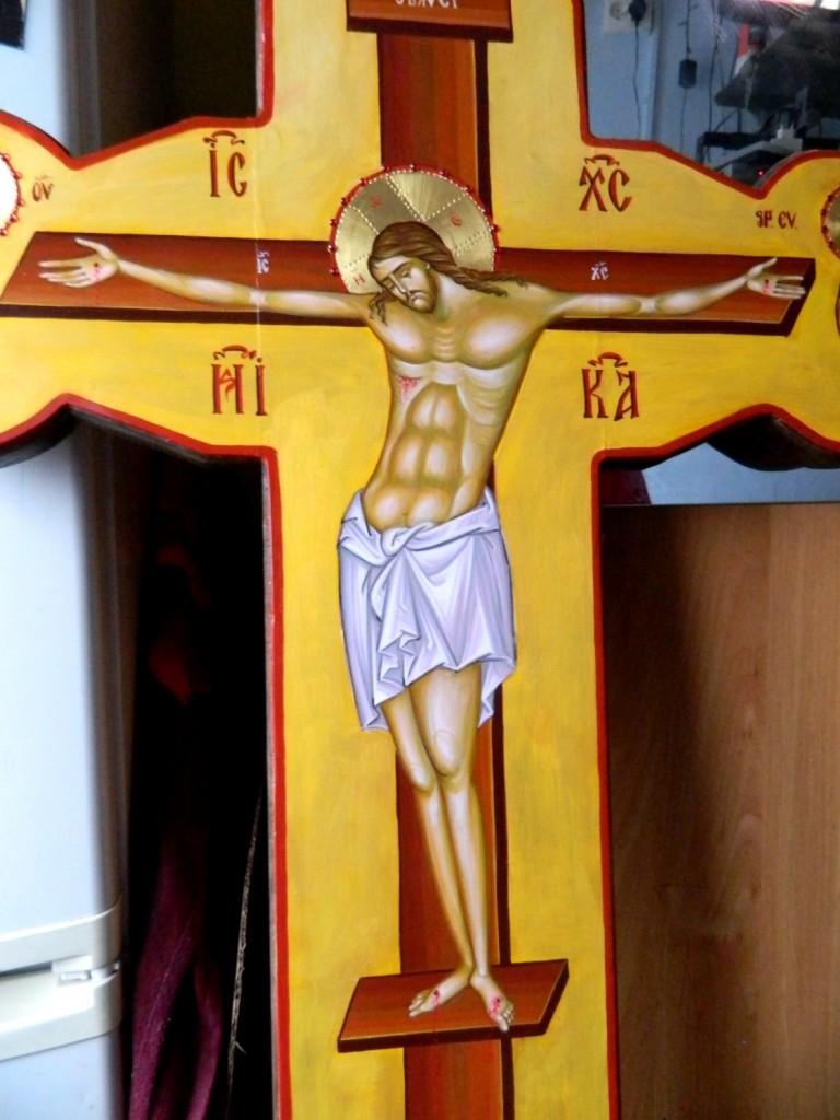 Sfanta Cruce - Rastignirea Domnului- Realizata pe lemn, in tehnica bizantina, tempera cu ou. Dimensiune 120cm X70 cm