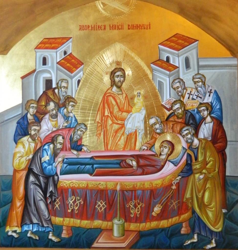 Adormirea Maicii Domnului- Icoana pe lemn, realizata in tehnica bizantina cu foita de aur de 22k. Dimensiune 40 X35 cm