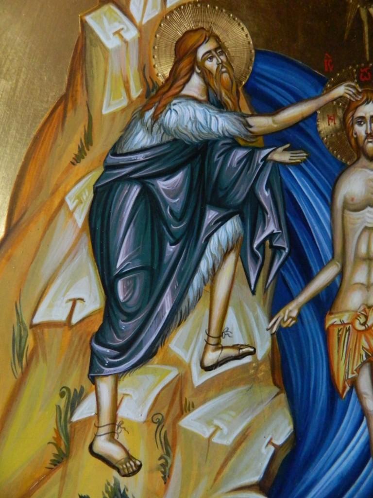 Botezul Domnului Hristos-Detaliu- Icoana pe lemn, realizata in tehnica bizantina cu foita de aur de 22k. Dimensiune 40 X35 cm
