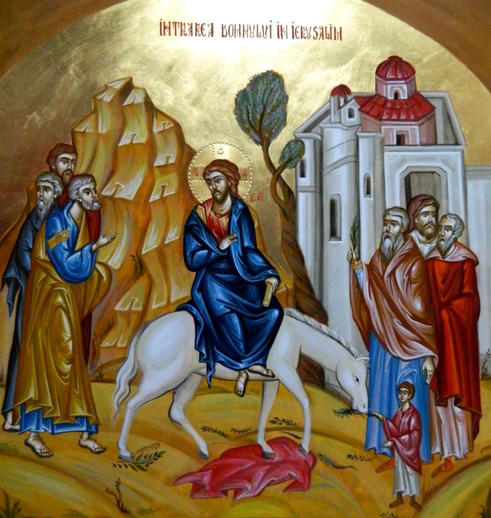Intrarea in Ierusalim a Domnului Hristos- Icoana pe lemn, realizata in tehnica bizantina cu foita de aur de 22k. Dimensiune 40 X35 cm