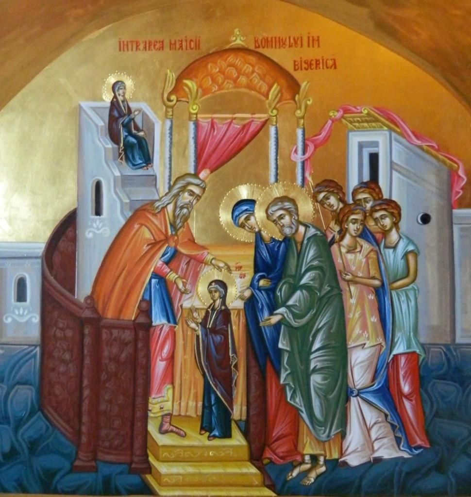 Intrarea Maicii Domnului in Biserica- Icoana pe lemn, realizata in tehnica bizantina cu foita de aur de 22k. Dimensiune 40 X35 cm
