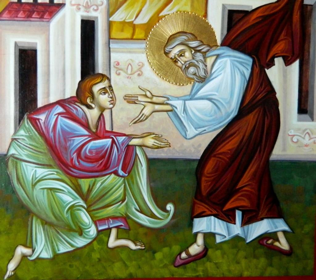 Intoarcerea Fiului Risipitor- DETALIU_ Icoana realizata pe lemn, in stil bizantin cu foita de aur de 22k. Dimensiune A3 ,42x30 cm