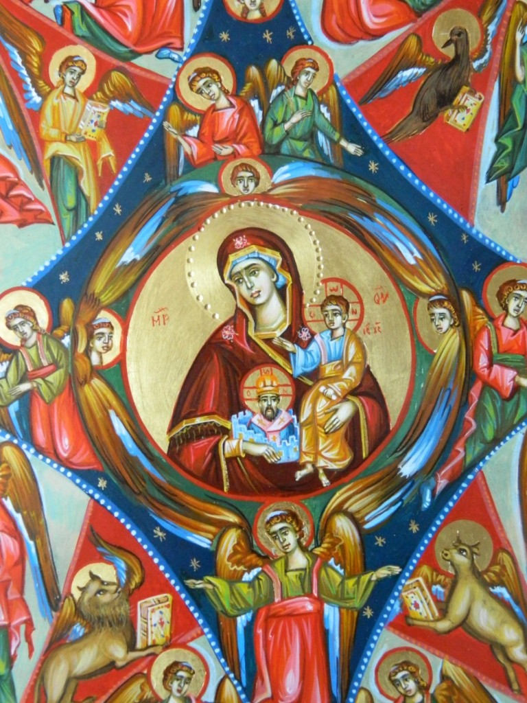 Maica Domnului RUGUL APRINS- DETALIU_ Icoana realizata pe lemn, in stil bizantin cu foita de aur de 22k . Dimensiune 35X45cm