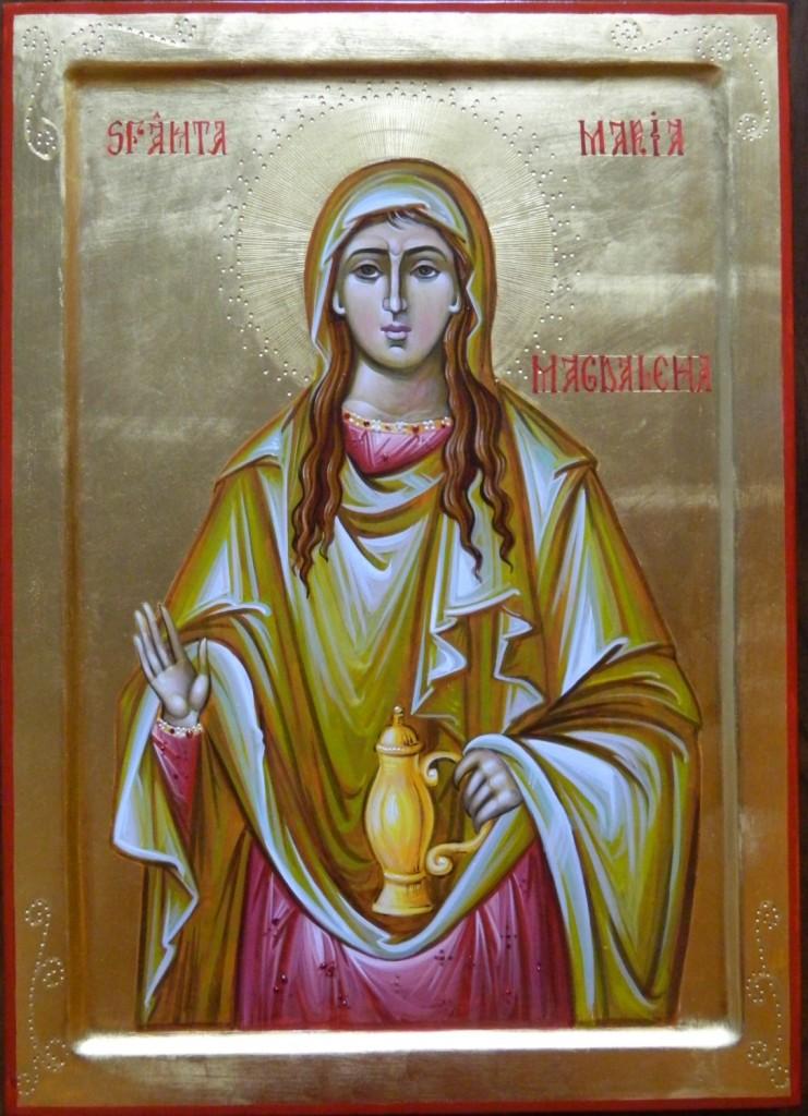 Sfanta Maria Magdalena Mironosita- Icoana pe lemn , realizata in tehnica bizantina , cu foita de aur de 22k. Dimensiunea A3 ( 42X30 ) cm