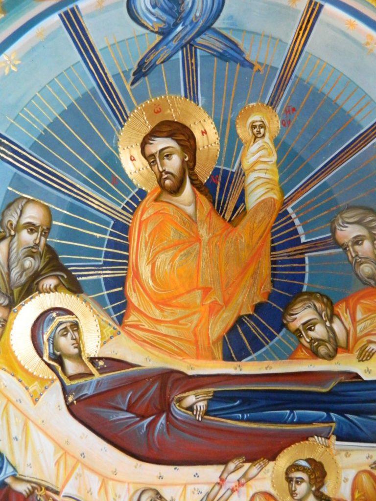 Adormirea Maicii Domnului- DETALIU_ Icoana realizata pe lemn, in tehnica bizantina, cu foita de aur de 22 k.  Dimensiune 82X60cm