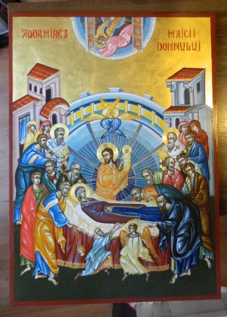 Adormirea Maicii Domnului- Icoana realizata pe lemn, in tehnica bizantina, cu foita de aur de 22 k.  Dimensiune 82X60cm