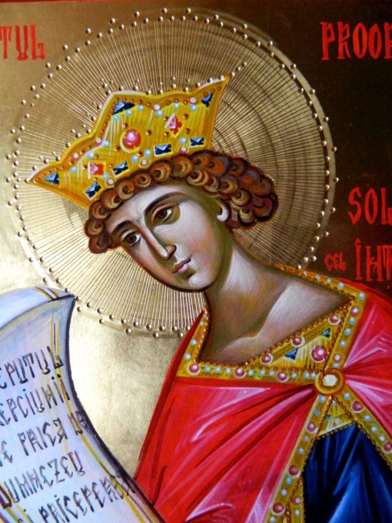 Sf Prooroc Solomon-DETALIU_ Icoana realizata pe lemn in tehnica bizantina, cu foita de aur de 22k. Dimensiune A4