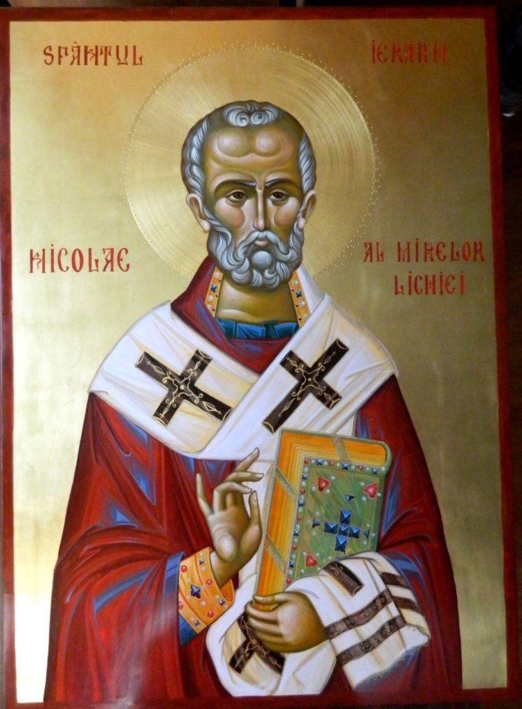Sfantul IERARH NICOLAIE AL MIRELOR LICHIEI- Icoana realizata pe lemn , in tehnica bizantina, pigmenti minerali si emulsie de ou, cu foita de aur de 22k . Dimensiuni 91X66cm